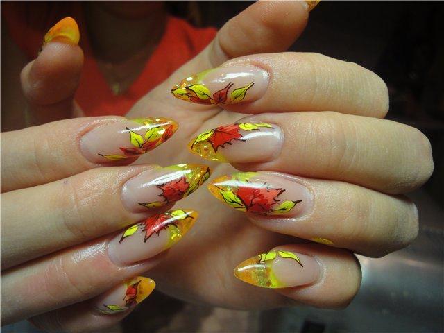 наращивание ногтей фото на осень